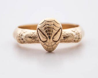 Sterling spider 14 Karat mask ring, unique ring, Comics jewellery, super hero jewellery, mask ring, spider mask fan, spiderman