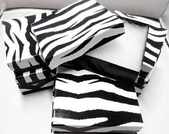 On Sale 3.5x3.5 Zebra Print Jewelry Presentation Gift Boxes Cotton Filled Retail Boxess 20 pack