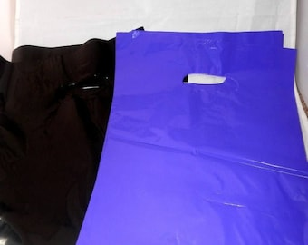 On Sale 100 pack  Black and Purple Glossy Retail Merchandise bags  Low Density Plastic Merchandise Gift Bags 9 x 12