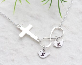 Sideways Cross necklace, Personalized INFINITY Initial &Birthstone Necklace, Family Bird Necklace, sisters Necklace, MonyArt original design