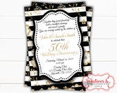 Black and Gold 50th Anniversary Invitation | Gold Anniversary | 50th Anniversary Invitations | Printed Anniversary Invitation | Anniversary