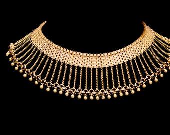 HOBÉ Egyptian Revival Mesh Fringe Garnet Rhinestone Crystal Choker Necklace 1930s HOBE