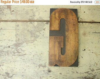 "ON SALE antique HUGE letter ""G"" wood carved letterpress printing block for posters 12"" tall"