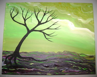 Black Lime - Original Acrylic Painting - Stretched Canvas - 16 x 20