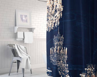 Chandelier Shower Curtain, Gold Shower Curtain, Navy And Gold Decor, Gold  Bathroom Decor