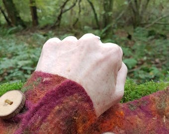 felted cuffs~felted wrist warmers~woodland~elven~pagan~Autumn colours~fall