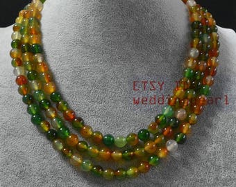 multicolor agate Necklace,triple strand agate Necklace,mixed color Necklace, statement Necklace,women necklace, mother necklace jewelry