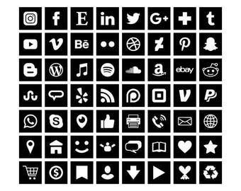 Black Square Social Media Icons Set | Transparent Avatar Flat Color Buttons Blog Website | Digital Icons | Personal or Commercial Use