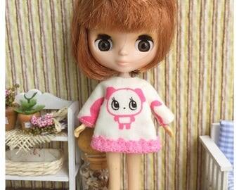 "Petite Blythe / Little Dal Outfit : ""Cute Bear Dress"" (Dress)"