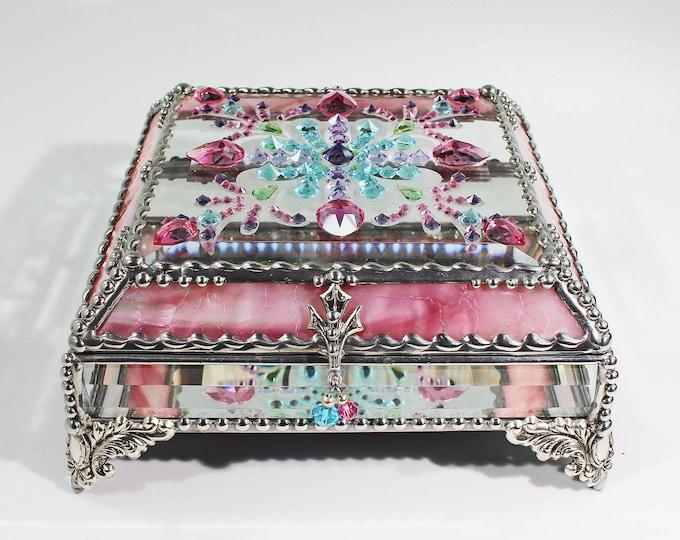 Jewel Encrusted 6x6 SILVER Jewelry Box