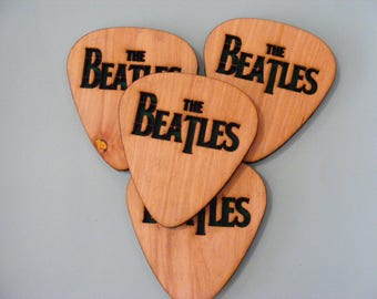 Laser engraved The Beatles Guitar pick Coasters 10cm x 9cm set of 4