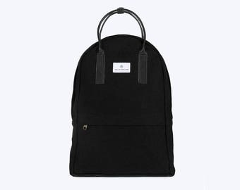 No. 12 Canvas Backpack Black, Canvas Backpack, Black Laptop Bag, Laptop Backpack, Black Backpack, Bicycle Bag, Canvas and Leather Backpack