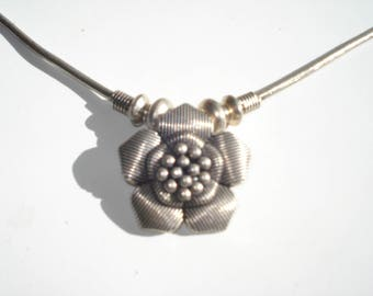 Silver Flower Necklace -  Wild Rose Pendant - Floral Jewellery 1990's Fashion
