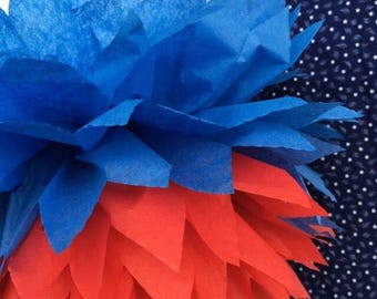4th of July  Tissue Paper Pom Poms Tricolor: Red, White and Patade Blue-- Or Choose Your Colors--Party or Home Decorations, Business Decorat