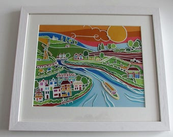 Original Papercut Art, Countryside Art, picture of llamas, picture of canal boat, windmill picture, picture of river, English countryside