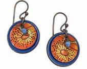 Vintage Tea Tin Earrings - Blue Jay and Orange