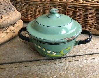 Chippy French Enamel Casserole, Handpainted, Lily of the Valley Flowers, French Farmhouse