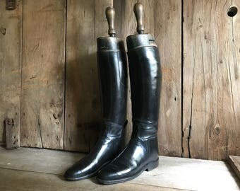 English Black Leather Riding Boots, Wood Boot Trees, Equestrian Boots, Rowell and Sons