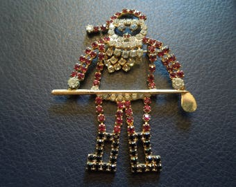 Vintage Christmas Brooch or Pin.  Santa The Golfer, Large Brooch in Rhinestones.  Excellent Condition.