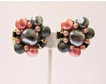 On Sale Vintage Pink and Grey Beaded Cluster Earrings Item K # 1779