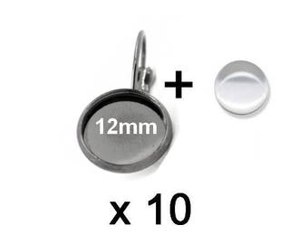 10 supports sleepers gun metal and 10 cabochons 12mm