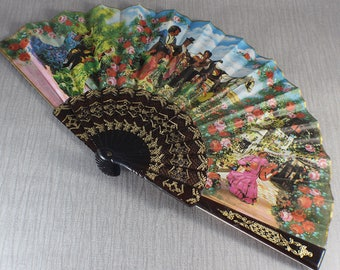 spanish hand fans. plastic and fabric spanish hand fan flamenco dancer with guitars holiday souvenir fans