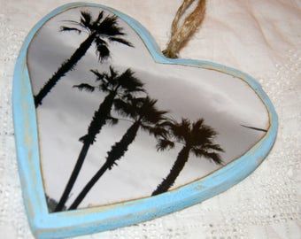 wooden beach photo Christmas ornament, black and white palm trees photograph