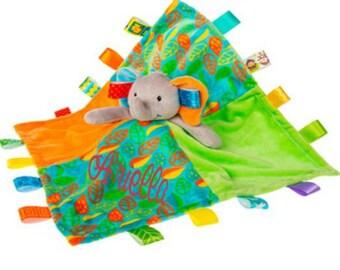 "Elephant Blanket, taggie, 13"" x 13"", baby gift, personalized taggie"