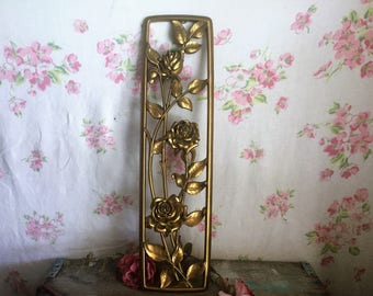 Mid Century Shabby Gold Flowers SYROCO Style Wall Decor PLAQUE, Vintage 70s