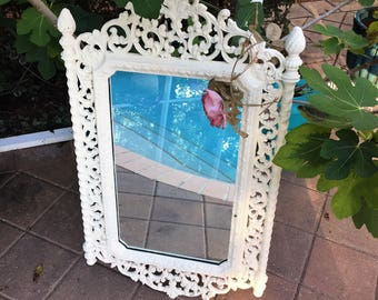 Vintage Large Ornate White Mirror -Old White painted - Country French - Shabby Chic mirror  XLARGE 33 x 19