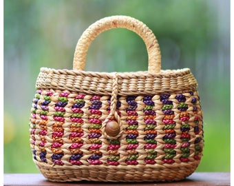 FREE US SHIPPING straw bag, straw basket bag, straw handbag, straw mini basket straw handbag (Molly rose-Multi)