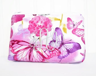 Floral Butterfly Personalized Cosmetic Bag, Pink and Purple Bag, Make-Up Pouch, Accessory Bag with Monogramming