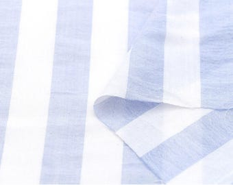 Blue Stripes Cotton Gauze Fabric - 57 Inches Wide - By the Yard 78844 GJ