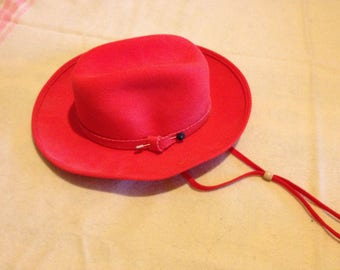 Vintage 1970s GEORGE W. BOLLMANN 100% Wool Felt Designer Red Cowgirl Hat (Size Small)