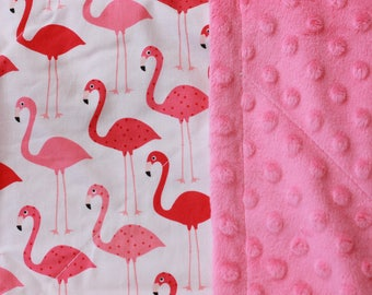 Pink Flamingos Baby & Toddler Minky Blanket ~ Made with Designer Cotton and Luxurious Bright Pink Minky