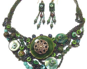 Green Bead and Button Statement Necklace with Earrings Set/ Bib Necklace/ Freeform Peyote Necklace