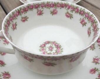 HAVILAND LIMOGES FRANCE Cup /Saucer -    Dainty Pink Roses