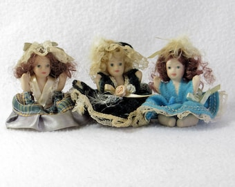 Victorian Era Style Baby Dolls - Vintage Home Figurines Decor