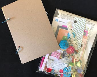 Junk Journal, Art Journal, Starter Kit-comes with a bag of 100 papers and other bits and pieces for embellishment