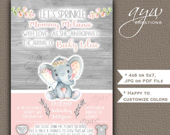 Elephant Baby Sprinkle Invitations Girl Flowers Pink Gray Elephant Baby Sprinkle Invitations Printable Invites Rustic Wood Floral Watercolor