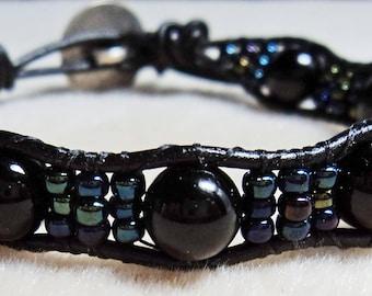 Onyz Single Wrap Greek Leather Bracelet