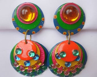 Huge Dangle Colorful Signed DCZ Vintage Lightweight Multi Color Earrings Circles Dangles Laminated Plastic Kitsch Clip On Disco Go-Go Happy!
