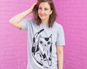 Grey Cat t shirt - Cat shirt - I like cats - t shirt - Cat gift - Cat lover gift - Splodge cat - Cat clothing - Black and white Cat