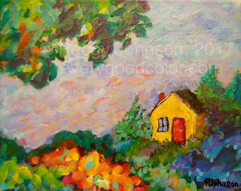 little yellow house, whimsical landscape giclee print choose your size Peggy Johnson Every Good Color