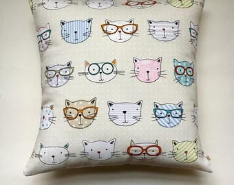 "Cool Cats cushion cover 16"" (40cm x 40cm) cat cushion pillow cover Fryetts  fabric 16 inch"