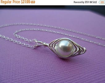 ON-SALE Classy White Pearl Herringbone Necklace - Sterling Silver Necklace, Bridesmaids Gifts, Flower Girl, June Birthstone