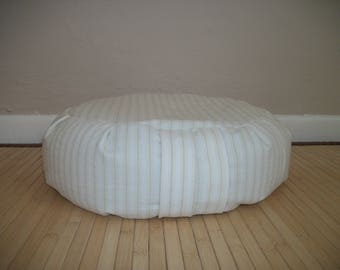 "UNFILLED Zafu Meditation Cushion. Dorm/Floor pillow. Cream pinstripe reclaimed fabric. 15x5. 6"" L. Sidewall velcro. Handmade, USA"