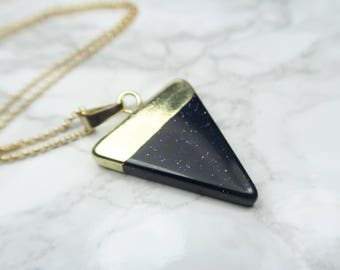 Blue Goldstone Delta Necklace   Triangle Necklace   Goldstone Necklace   Goldstone Jewelry