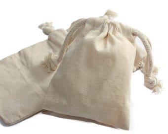 "24 pcs, 3""x4"" Natural Muslin Bags with Drawstrings"