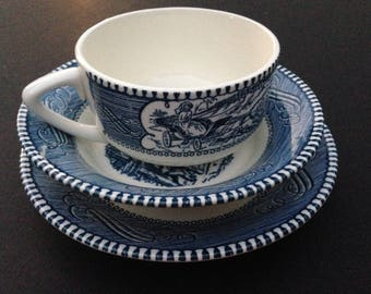 Royal China - Currier and Ives - Replacement Pieces - Cup Saucer and Berry Bowl - Blue and White